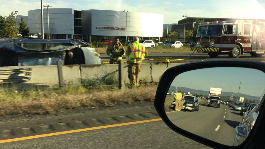 A photo of the crash near Liberty Lake courtesy of  Nicole Magers