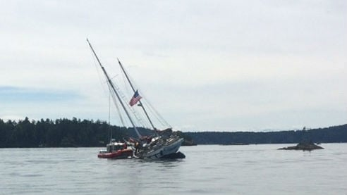 The U.S. Coast Guard was able to rescue 10 children and two adults from a sailboat that went aground near the San Juan Islands. Photo: US Coast Guard