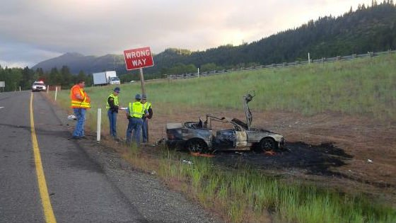 Washington authorities say 24-year-old Chase Sukert lost control of his Mercedes and crashed while driving 122 mph on Interstate 90 last Thursday. Photo: Washington State Patrol