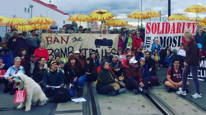 Organizers with the Fossil Fuel Resistance Network, a group that formed after the June 3 Mosier train derailment, say they expect to be arrested. Photo: Fossil Fuel Resistance Network/Facebook
