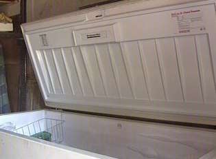 The burglary suspect was found hiding in this freezer