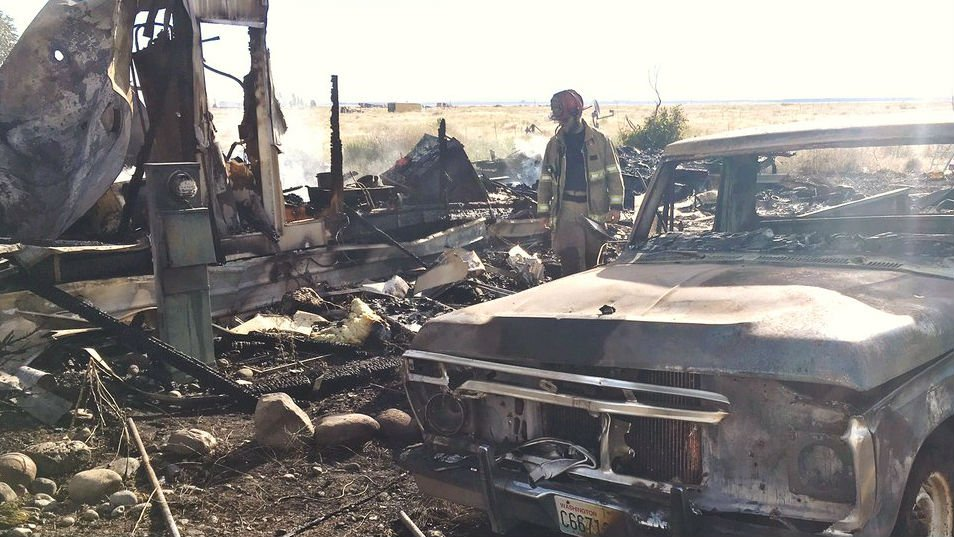 The scene of a mobile home fire Saturday. Photo: Grant County Sheriff's Office/Twitter