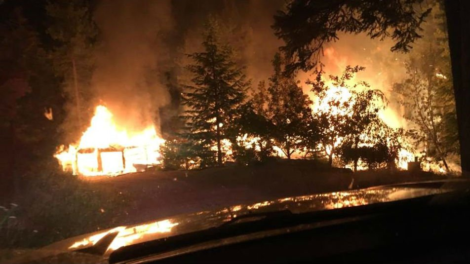 A home and garage were destroyed by flames early Monday morning (PHOTO: Stevens Co. Fire Dist #1/Facebook)