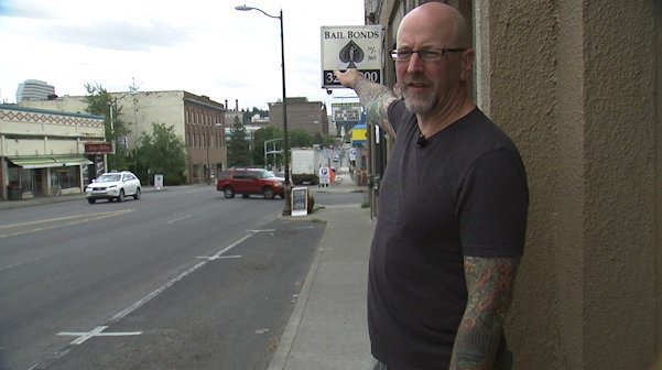Bookstore owner, Nathan Huston, says business in June was down 50% from last year because of construction.
