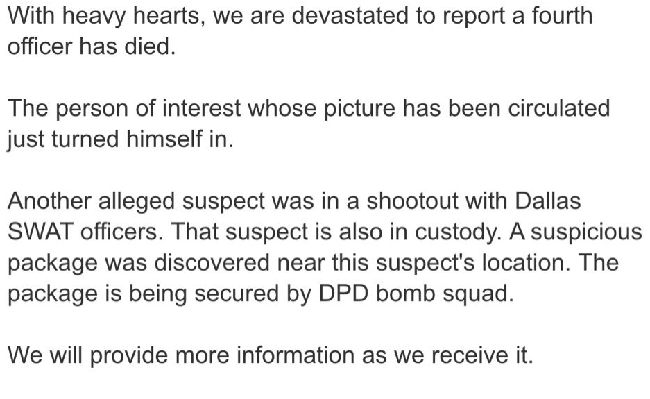 Statement from Dallas PD's Twitter