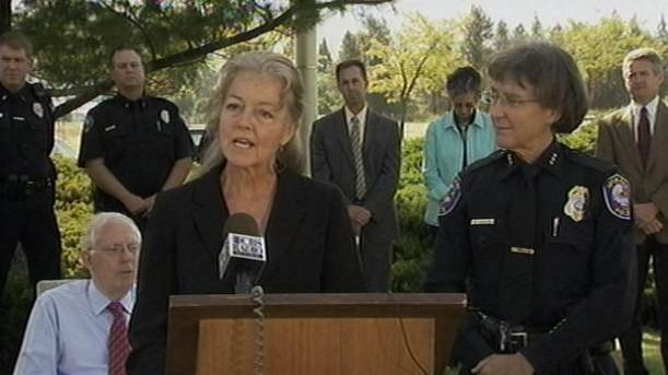 Spokane Mayor Mary Verner speaks at the press conference, Spokane Police Chief Anne Kirkpatrick (right) spoke immediately after