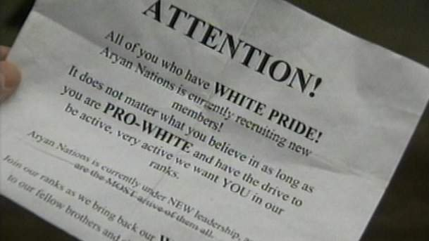 One the racist flyers thrown into a North Idaho front lawn