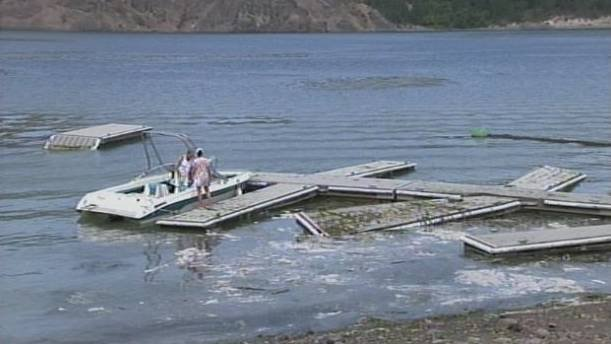 Waves generated by the landslide destroyed this dock