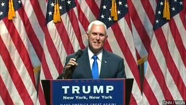 Indiana Gov. Mike Pence has delivered a ringing endorsement of Donald Trump as he joins him as the vice presidential candidate on the Republican ticket.