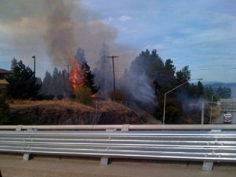 Some the flames reached nearby trees Friday afternoon