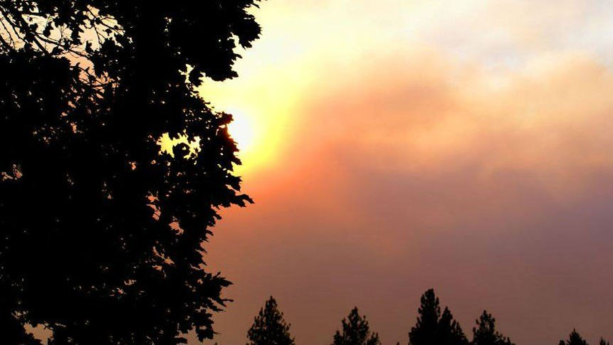 Smoke seen from the fire in Ferry County (PHOTO: Kari Peters)