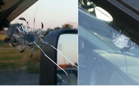These are photos of the damage from the BB gun shots.
