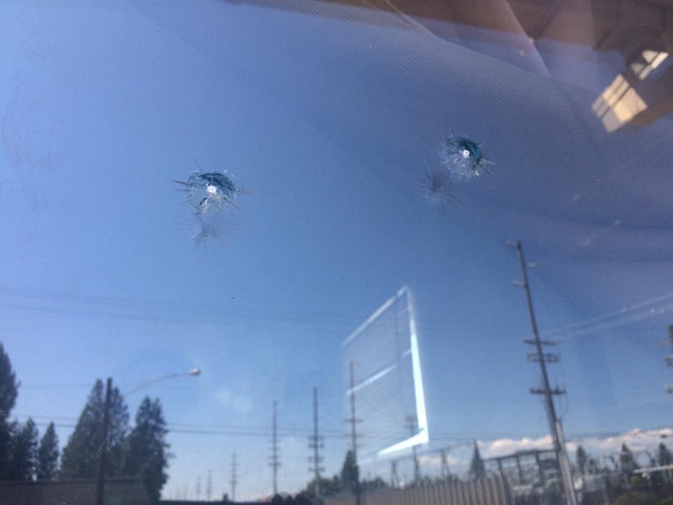 A window shot out by a BB gun.