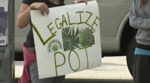 Medical marijuana protesters rally outside the Spokane County courthouse days after a police raid on a North Spokane medical marijuana shop (September 14)