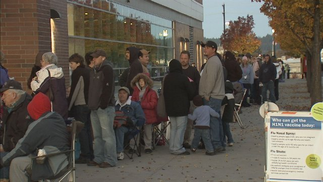 Hundreds lined up Saturday morning at the Spokane Arena in hopes of receiving the Swine Flu Vaccine