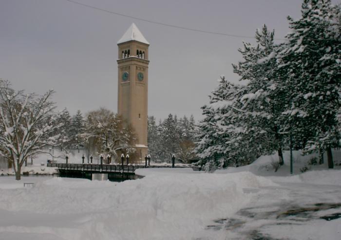 A snowy Spokane in December 2008