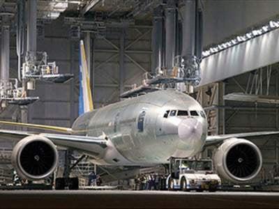 B777-200LR aircraft at a Boeing facility in Washington state