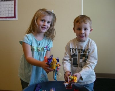 Two children participate in the event