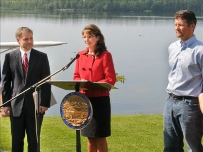 Alaska Governor Sarah Palin at a press conference on July 3, 2009 announcing that she will not be seeking re-election and is steeping down at the end of the month