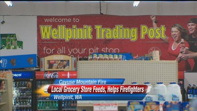 A local store has been helping to feed fire crews and evacuees.