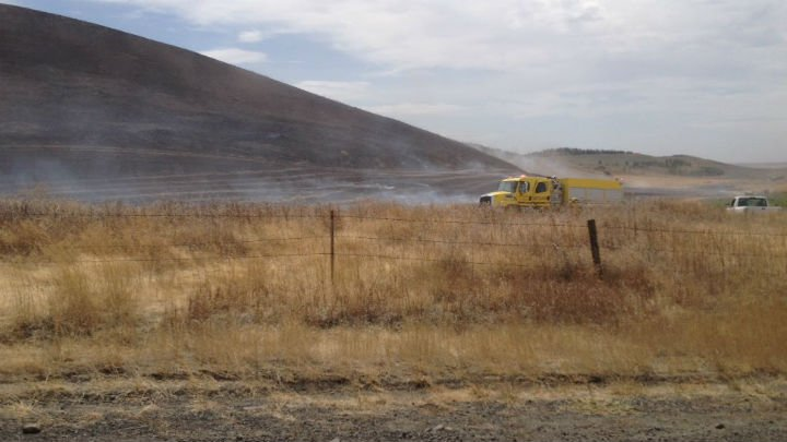 The scene of a small brush fire in Cheney