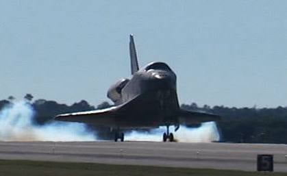 Space shuttle Atlantis lands on runway 33 at NASA Kennedy Space Center's Shuttle Landing Facility concluding the STS-129 mission. (Photo: NASA TV)