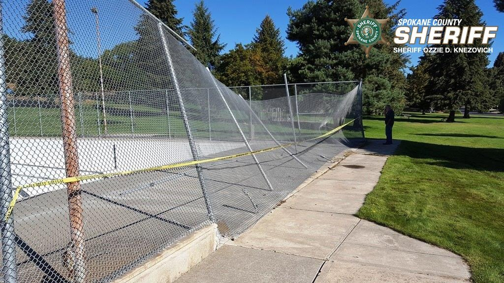 The fence damage at Holmberg Park