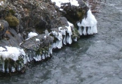 Ice on the rocks along the Spokane River, submitted by Marsha via Weather Pix