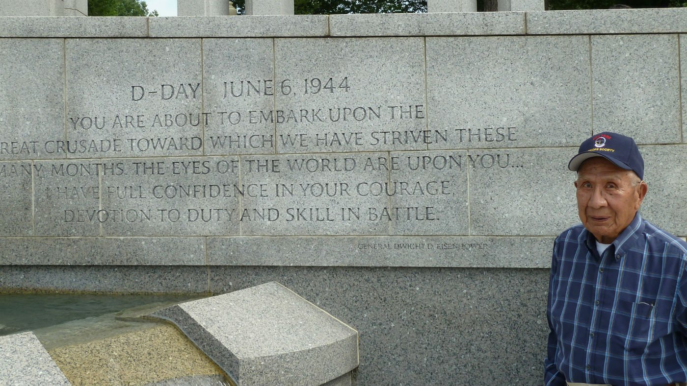 Felix Aripa at the World War II memorial. Photo by Emory Brinkman