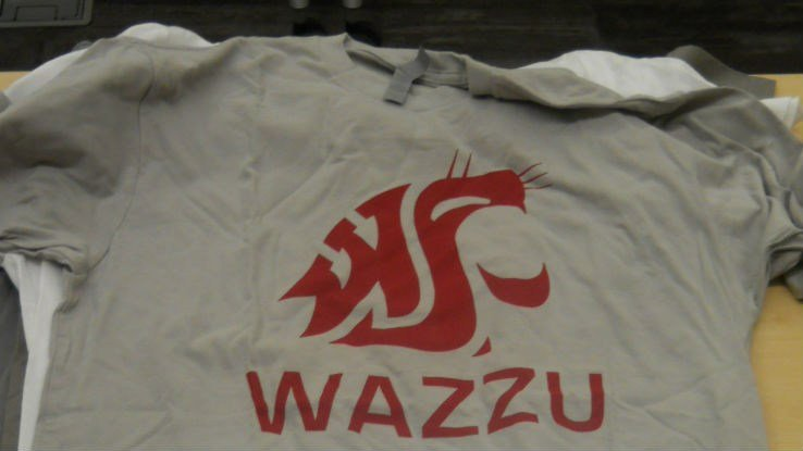One of the fake shirts seized on Saturday