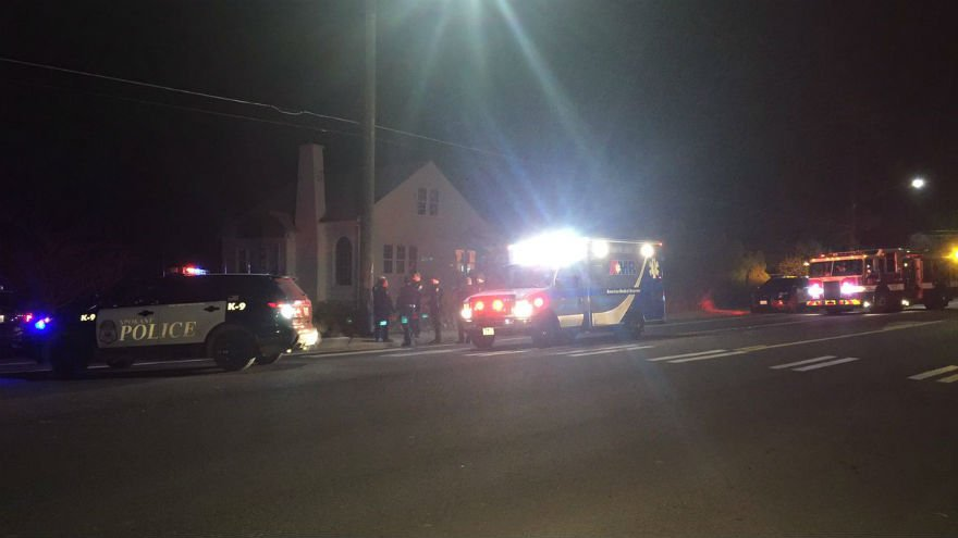 The scene near Comstock Park Tuesday night.