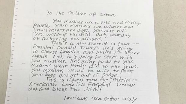 Law enforcement officials have condemned a hate-filled letter received by several California mosques that said Muslims would be exterminated by President-elect Donald Trump. Photo: CAIR
