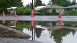 The falling rain has caused many pools of standing water all over the Inland Northwest (Photo: KHQ)