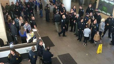 Law Enforcement gathers at Kootenai Health as Deputy Penn is released