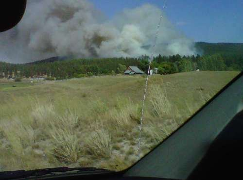 (KHQ Viewer photo of fire burning in Colville)