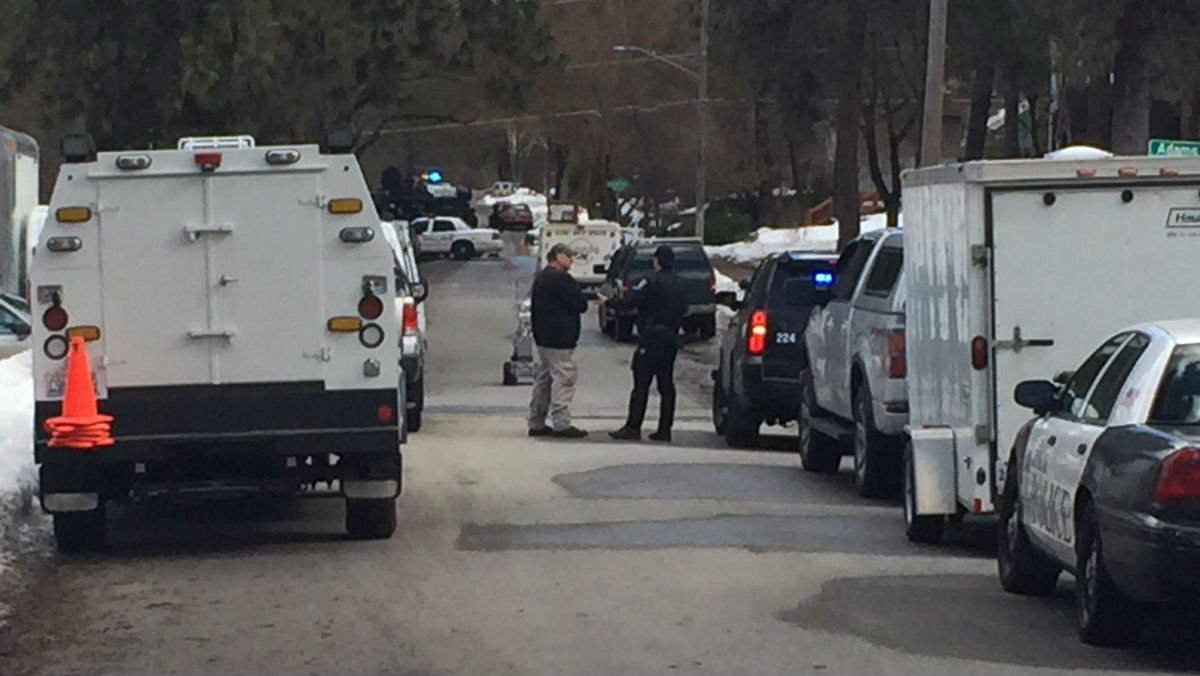 A photo from the standoff near 17th and Cedar on Friday