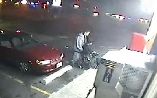 Surveillance from October 5th, the night of the shooting. Reeves pictured in wheelchair