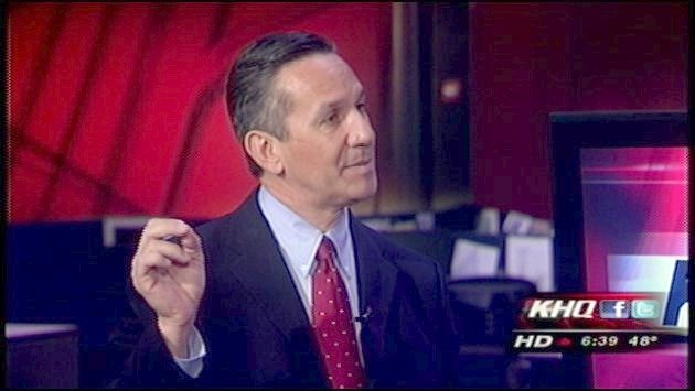 Republican Dino Rossi appeared on KHQ Local News Today before heading to the west side of the state to await election results (Photo: KHQ)