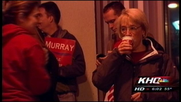 Democratic Senator Patty Murray greeted people as they boarded a ferry on the west side of the state Tuesday morning (Photo: KHQ)