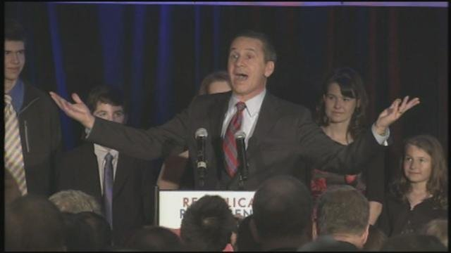 Dino Rossi said he was encouraged by strong voter turnout in areas that typically vote Republican (Photo: KHQ)