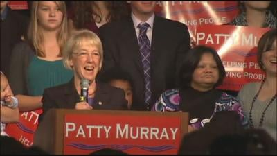 Patty Murray addressed a supportive crowd in downtown Seattle (Photo: KHQ)
