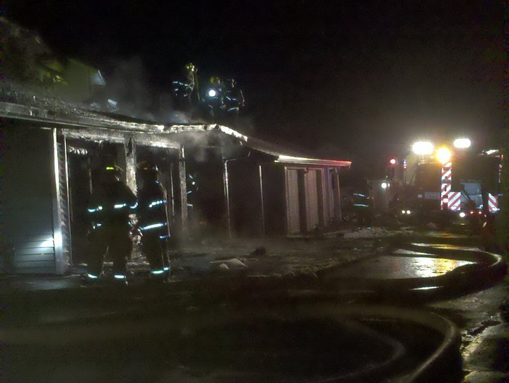 The fire started in one garage and quickly spread to other, adjoining units (Photo: KHQ)