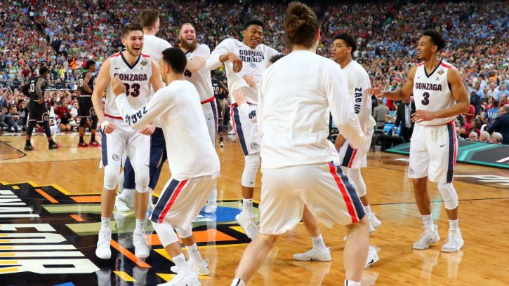Zags celebrating their Final Four victory in Phoenix. Photo: Torrey Vail