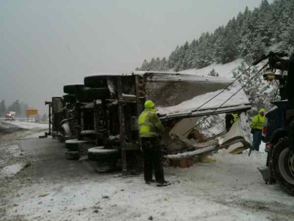 (Photo taken on Monday of a rolled semi truck at the Sherman exit)