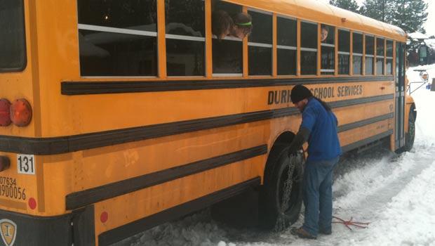 A school bus gets stuck in North Spokane (Photo: Patrick Erickson / KHQ)