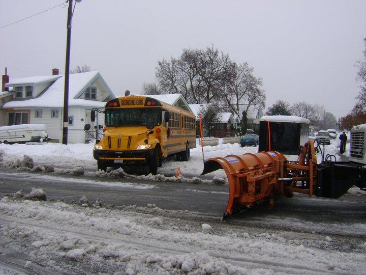A school bus gets stuck at Gordon and Addison in North Spokane (Photo: Vivian Snodgrass)
