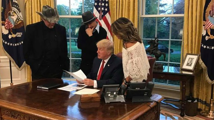Musicians Ted Nugent and Kid Rock, along with former AK Governor Sarah Palin met with President Trump this week (PHOTO: Facebook/Sarah Palin)