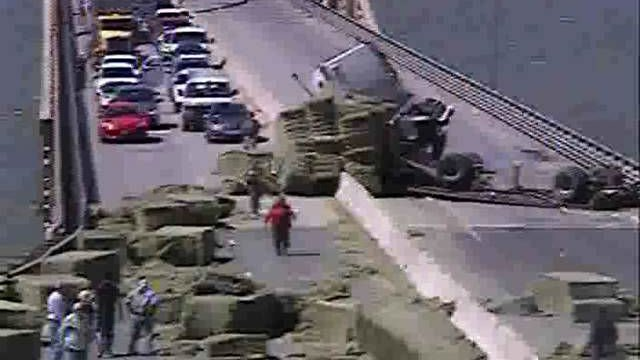 PHOTOS: Vantage Bridge closed in both direction following semi-truck rollover
