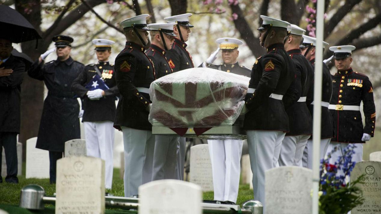 Glenn was buried at Arlington Cemetery in Washington: AP