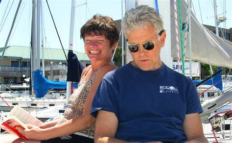 (Phyllis Macay and Bob Riggle are seen on a yacht in Bodega Bay, Calif., in this June 2005 photo provided by Joe Grande)